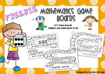 FREE Mathematics Game Boards with numbers to 20 ~ Miss Mac