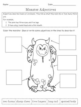 FREE! Monster Adjectives Worksheet
