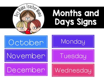 FREE Months and Days Signs for the Classroom