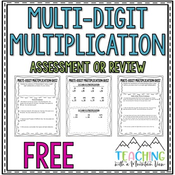 FREE Multi Digit Multiplication Quiz or Review and Answer Key