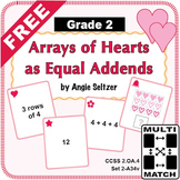 FREE Multi-Match Game Cards: Arrays of Hearts as Equal Addends