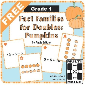 FREE Multi-Match Game Cards: Fact Families for Doubles: Pumpkins
