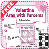 FREE Multi-Match Game Cards: Valentine Area with Percents
