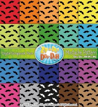 FREE Mustache Pattern Digital Scrapbook Pack — Basic Bundl