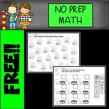 FREE NO PREP Math Printables