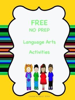 FREE NO PREP Language Arts Activities