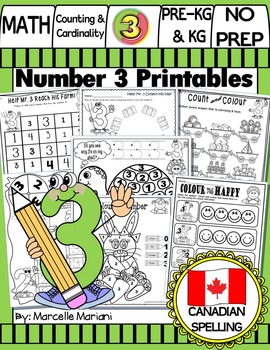 FREE- Number 3 Math Worksheets-NO PREP- CANADIAN SPELLING