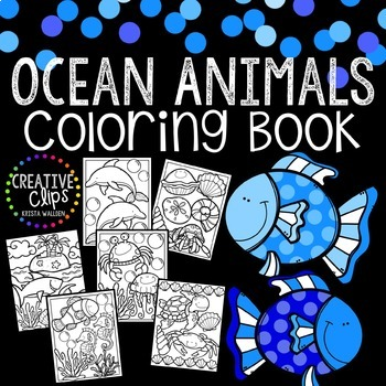 FREE Ocean Animals Coloring Book {Made by Creative Clips Clipart}