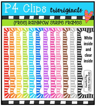 FREE P4 RAINBOW Stripe Frames {P4 Clips Trioriginals Digit