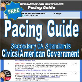 FREE! PACING GUIDE Civics/U.S. Government (Secondary 12th Grade)
