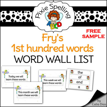 Spelling - FREE Word Wall List