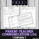 FREE Parent-Teacher Communication Log: Forms for Documenti