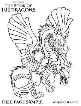 FREE Persian dragon coloring page sample