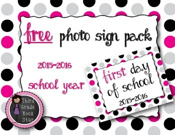 *FREE* Photo Sign Pack {Pink, Gray, & Black Polka Dot Theme}
