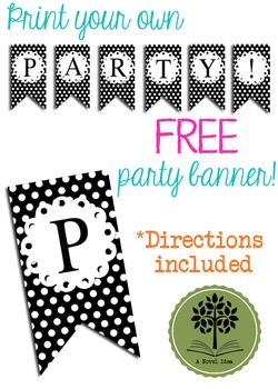 FREE Polka Dot Madness PARTY Flags Banner Printable!