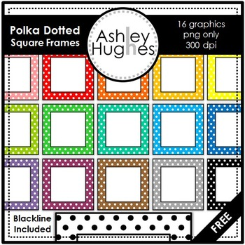 FREE Polka Dotted Square Frames Frames {Graphics for Comme