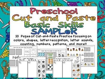 FREE Preschool Cut and Paste Basic Skills Practice SAMPLER