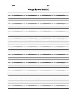 FREE Printable Always Do Your Best Dotted Mid-line Lined P