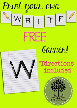 FREE Printable WRITE Flag Banner on Notebook Paper Pattern!