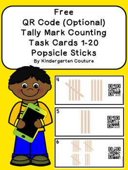 FREE QR Code (Optional) Tally Mark Task Cards 1-20 Popsicl