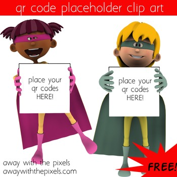 FREE! QR Code Placeholder Superhero Boy and Girl Clip Art - CUOK