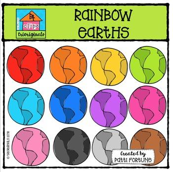 FREE RAINBOW Earth {P4 Clips Triorignals Digital Clipart}
