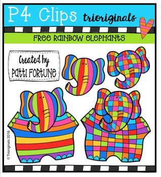 FREE  RAINBOW Elephants {P4 Clips Triorignals Digital Clipart}