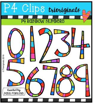 FREE  RAINBOW Numbers {P4 Clips Triorignals Digital Clipart}