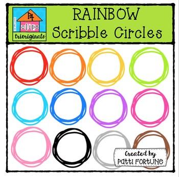 FREE RAINBOW Swirly Circles {P4 Clips Triorignals Digital