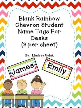 FREE Rainbow Chevron Theme Name Tags for Student Desks