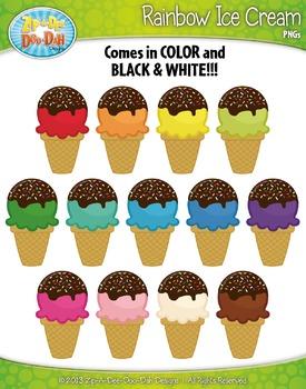 FREE Rainbow Ice Cream Clipart Set — Includes 14 Graphics!