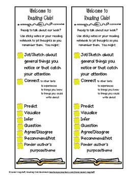 FREE! Reading Club Literature Circle Bookmark With Reading