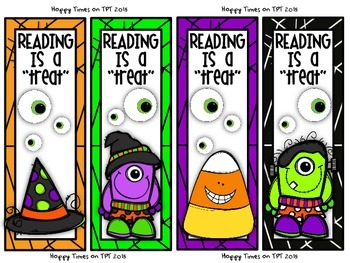 "FREE ""Reading is a Treat"" HALLOWEEN BOOKMARKS"