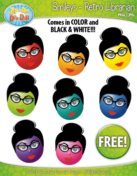 FREE Retro Librarian Smiley Faces Emotions Clip Art Graphics