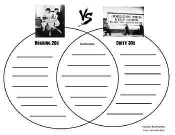 {FREE} Roaring 20s vs. Dirty 30s (Graphic Organizer - Venn