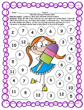 Math FREEBIE Print & Play!  Roll, Add, & Color Partner Game