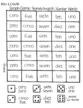 *FREE* Roll & Color Graph Game: Spanish/English Number Words