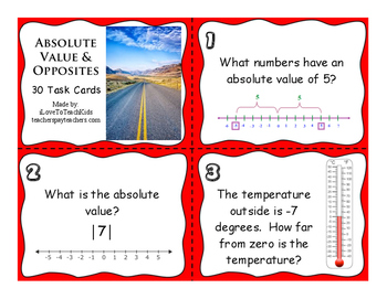 FREE SAMPLE Absolute Value Set of 3 Task Cards