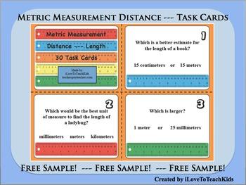 FREE SAMPLE Metric Measurement Units Length Distance Set o
