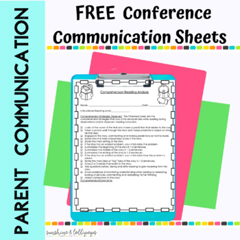 FREE SAMPLE Parent Communication Conference Sheets For K-2