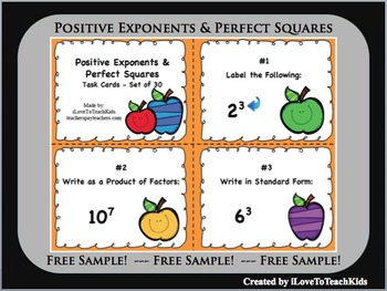 FREE SAMPLE Positive Exponents Perfect Squares Set of 3 Ta