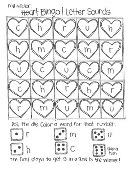 *FREE SAMPLE* Roll and Color:  Heart Bingo! (Letters and Sounds)