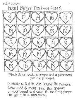 *FREE SAMPLE* Roll and Color:  Heart bingo! (Doubles)