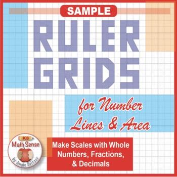 FREE SAMPLE: Ruler Grids for Drawing Number Lines & Area Models