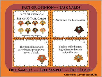 FREE SAMPLE Set of 3 Fact or Opinion Task Cards Fall Theme