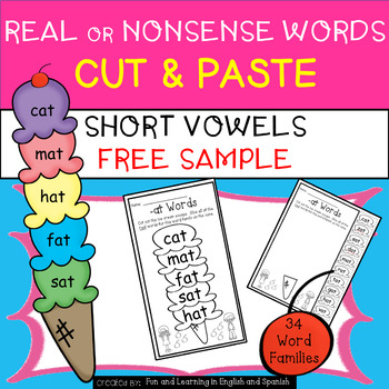 FREE SAMPLE - Short Vowel-Real or Nonsense Words-NO PREP C