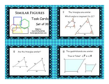 FREE SAMPLE Similar Figures Set of 3 Task Cards