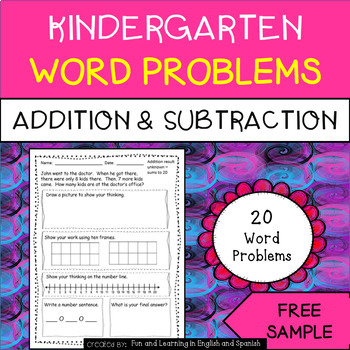 FREE SAMPLE - addition and subtraction word problems for K