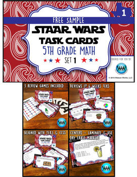 FREE STAAR Wars 5th Grade Math Task Cards