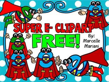FREE SUPER E CLIP ART-COMMERCIAL USE-COLOUR AND BLACK-WHITE